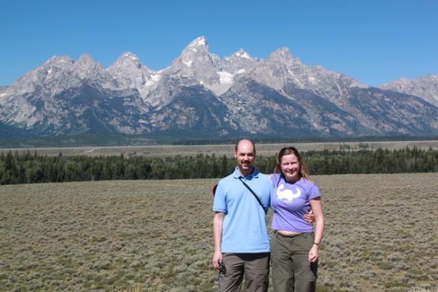 Robert en ik voor de Teton bergketen